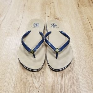 Tory Burch Navy & Tan Thong Flip Flop Sandals